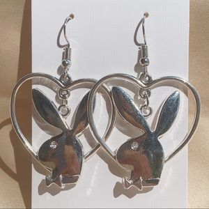Jewelry - Hanging Playboy Bunny Heart Hoops